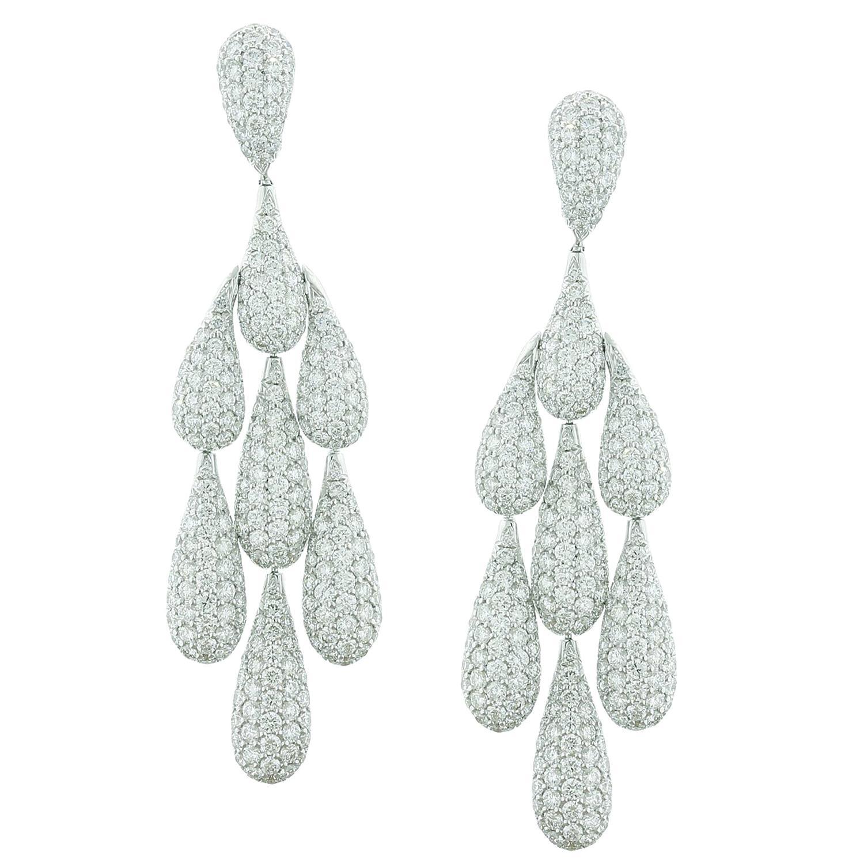 Diamond Gold Chandelier Drop Earrings