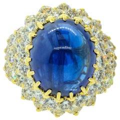 15.74 Carat Ceylon Sapphire Diamond Gold Ring