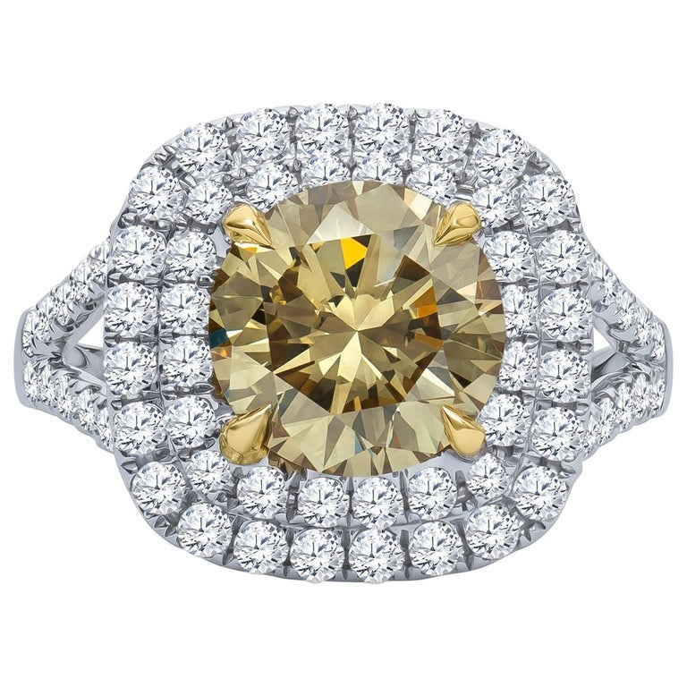 2.43 Carat 'GIA' Round Natural Brown-Green-Yellow Diamond with Double Halo Ring For Sale
