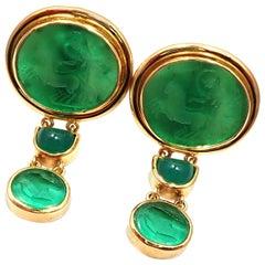 Elizabeth Locke Venetian Green Glass Intaglio Chalcedony Yellow Gold Earrings