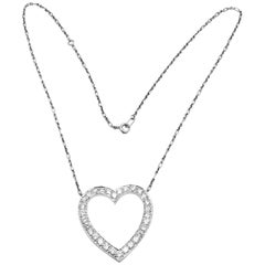 Vintage Tiffany & Co. Diamond Extra Large Heart Palladium Necklace