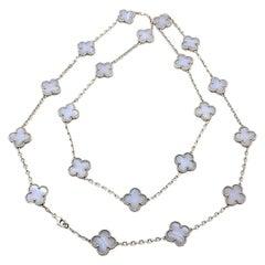 Van Cleef & Arpels Vintage Twenty Motif Alhambra Chalcedony White Gold Necklace