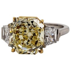 Scarselli 4 Carat Fancy Intense Yellow Radiant Diamond Ring 'VVS2' Platinum GIA