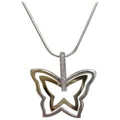 "Large ""Butterfly"" of 14 Karat Gold and Silver Necklace"