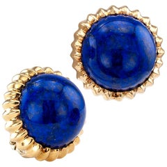Lapis Lazuli Gold Clip on Earrings