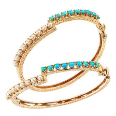 Pearl Turquoise Twin Stackable Gold Bangles