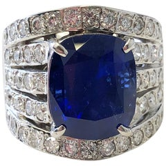 GRS Sri Lanka Royal Blue Sapphire Cushion and Diamond Cocktail Ring in Platinum