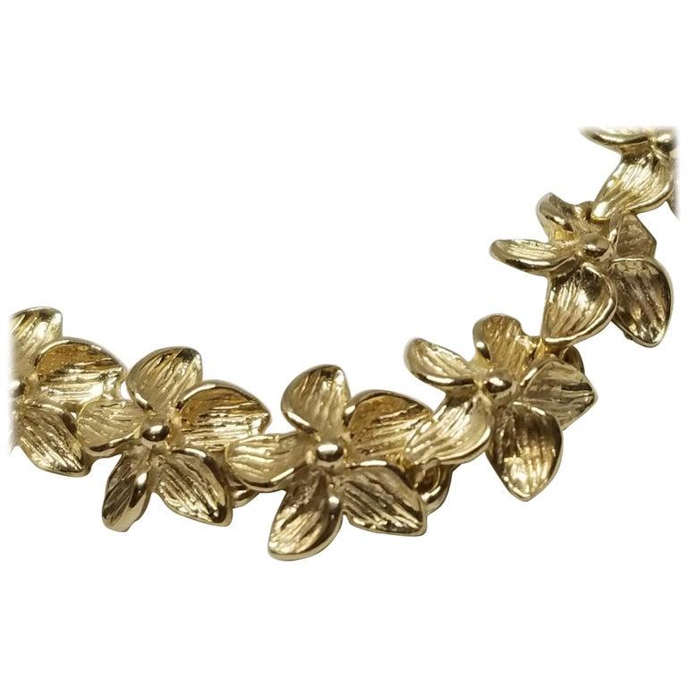 """14 Karat """"Plumeria"""" Flower Bracelet For Sale"""