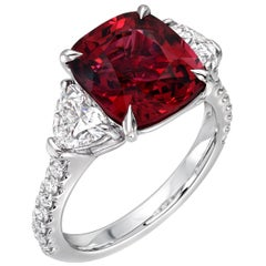 Red Spinel Heart Shape Diamond Platinum Three-Stone Ring AGL Certified Burma