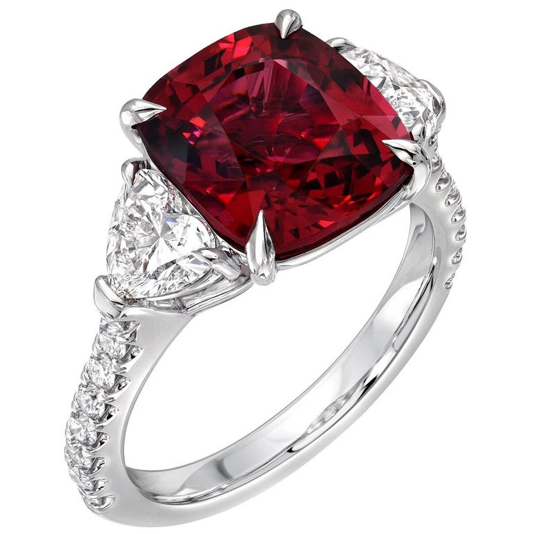 Burma Red Spinel Ring Cushion Cut 5.05 Carats AGL Certified For Sale