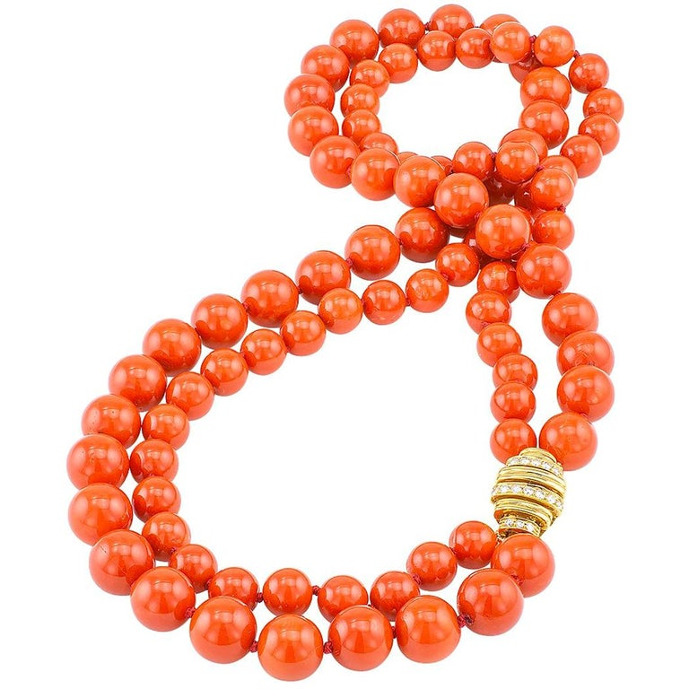Red Coral Bead Diamond Gold Necklace For Sale