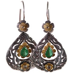 Emma Chapman Emerald Diamond 18 Karat Gold Silver Statement Earrings
