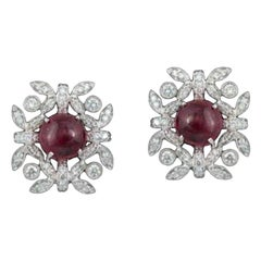 In 18K gold, art-deco, natural Burma Spinel Cocktail Ring & Stud Earrings Suite