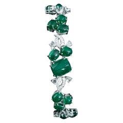 Set in 18K white gold, Zambian Emerald Cabochon and Rose Cut diamond Bracelet