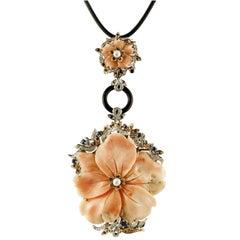 Pearl Coral Onyx Sapphire Diamond Gold Floral Pendant