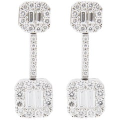 Jona White Diamond 18 Karat White Gold Dangle Earrings