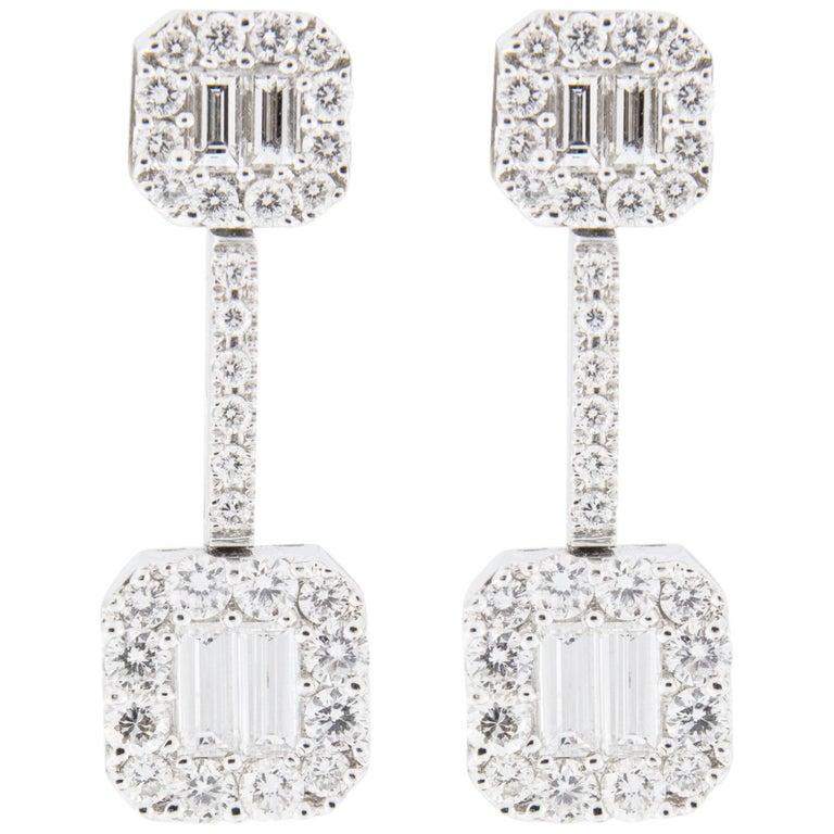 Jona White Diamond 18 Karat White Gold Dangle Earrings For Sale