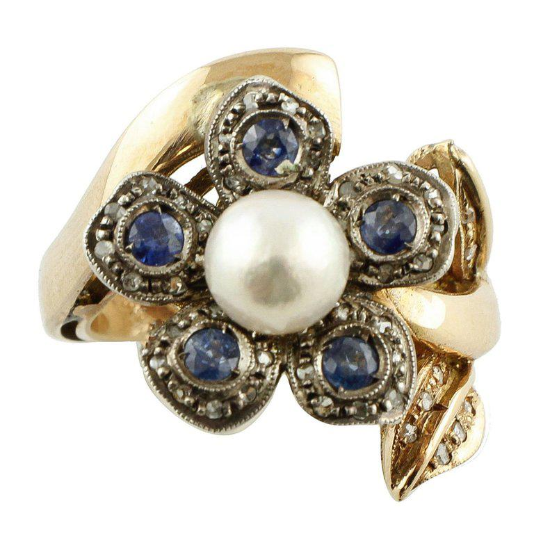 Sapphire Pearl Diamond Silver Gold Daisy Ring For Sale