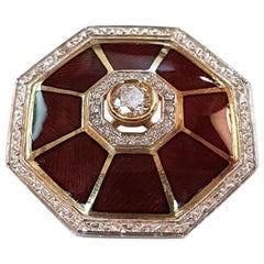 Fired Enamel Diamond 18 Karat White and Yellow Gold Pendant or Brooch