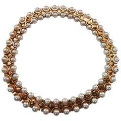 Italian Double Row Oriental Pearl 18 Karat Yellow Gold Choker Necklace