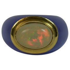Unique Lavender Jade Opal and 14 Carat Gold Ring