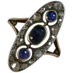 Victorian 18 Carat Gold Sapphire Rose Cut Diamond Navette Cluster Ring