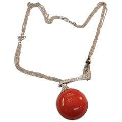 Viskilia Coral Diamond White Gold Pendant Necklace