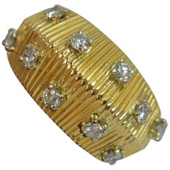 Boucheron Designer 18 Carat Gold VS Diamond Bombe Ring