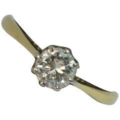VS 0.50 Carat Diamond 18 Carat Gold and Platinum Solitaire Engagement Ring