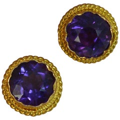 Victorian Pair of 15 Carat Gold and Amethyst Stud Earrings