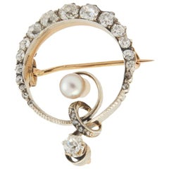 Diamond and Pearl Circular Brooch
