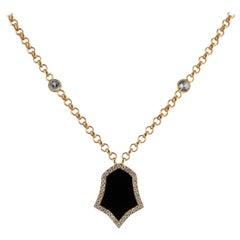 0.43 Carat White Sapphire 18 Karat Rose Gold Enamel Plated Tulip Necklace