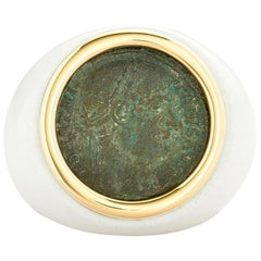Dubini Ancient Roman Imperial Bronze Coin 18K Yellow Gold White Agate Ring