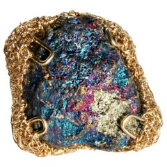 Peacock Ore Bornite in  Gold Statement Cocktail Ring by Sheila Westera London