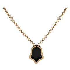 0.22 Carat White Sapphire 18 Karat Rose Gold Enamel Plated Tulip Necklace