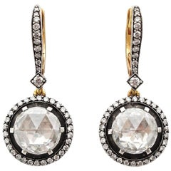 Rosenschliff Weißer Diamant, 18 Karat Rotgold Erbe Ohrring