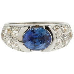 2 Carat Ceylon Sapphire 1 Carat Diamonds 18 Karat White Gold Band Ring