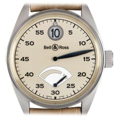 Bell & Ross Ltd Ed 123 Jumping Hour Platinum Cream Dial 123JH Automatic Watch