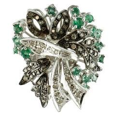 Gold Diamond Emerald Cocktail Ring