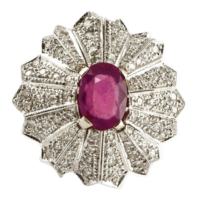 Gold Diamond Ruby Dome Ring
