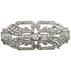 Art Deco Old Mine Rose Cut Diamond Platinum Brooch