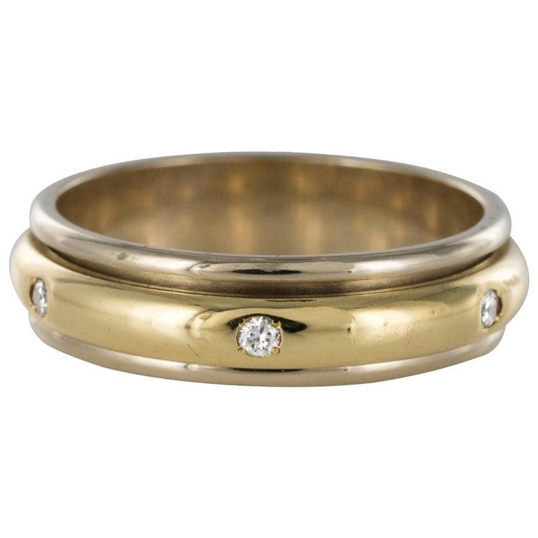 Modern White Gold Yellow Gold Diamond Mobile Wedding Ring For Sale