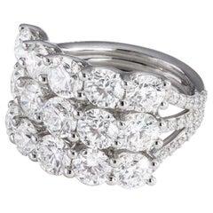 5.37 Carat Three-Row Diamond Ring