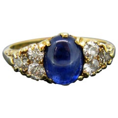 Victorian Cabochon Sapphire Old Cut Diamonds Yellow Gold Ring