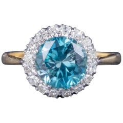 Antique Edwardian Blue Zircon Ring 18 Carat Gold Platinum, circa 1910