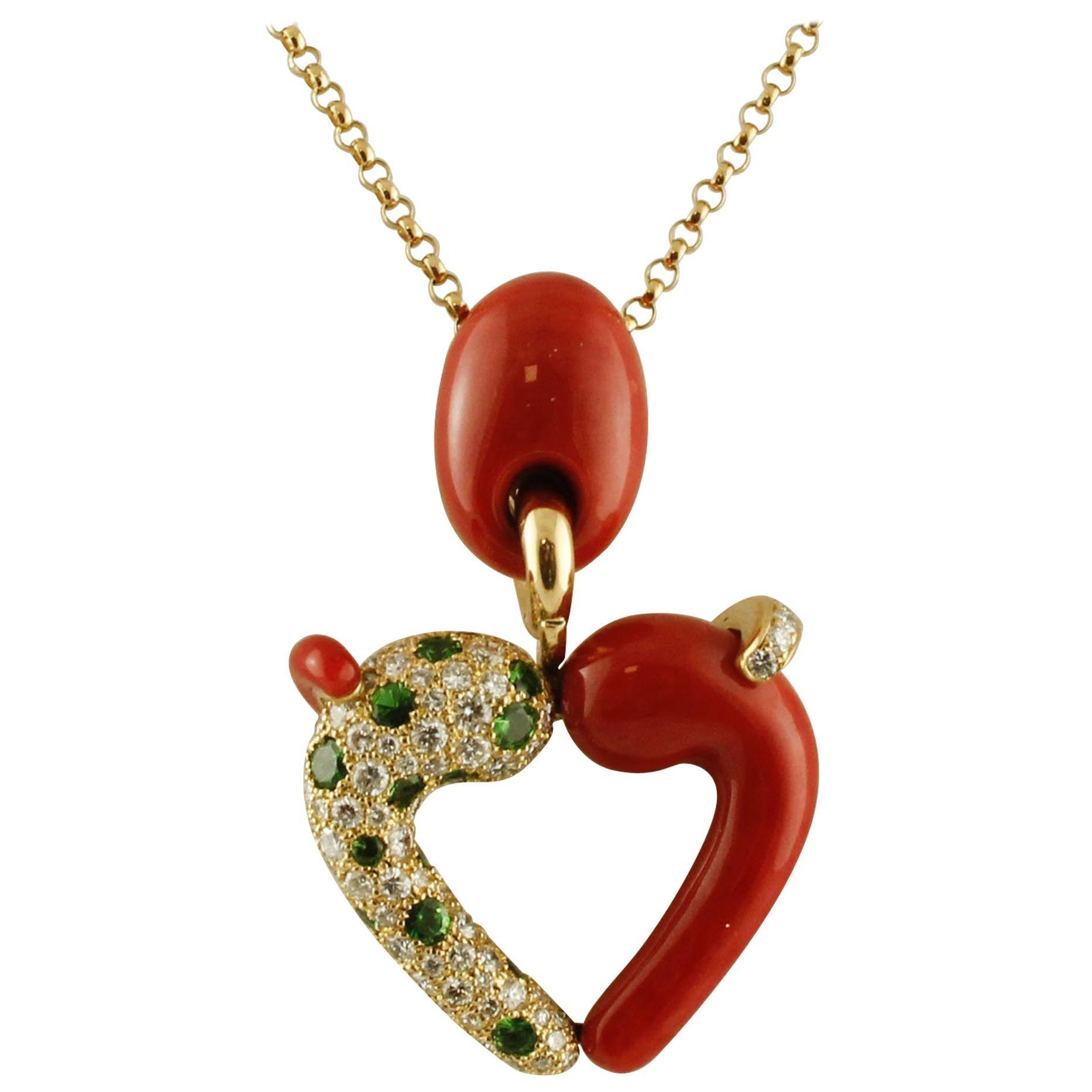 White Diamonds,Tsavorites,Red Coral,18K Yellow Gold Heart Shape Pendant Necklace