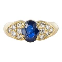 Modern Sapphire Diamond Yellow Gold Bangle Ring