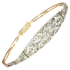 Stunning Art Deco Diamond Gold Bracelet, 1920s