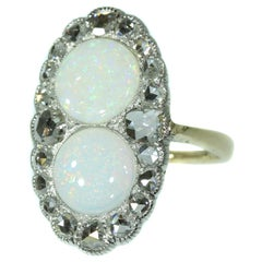 Antique Victorian Engagement Ring with Rose Cut Diamonds and Cabochon Opals