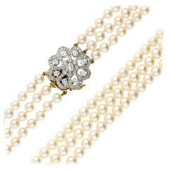 Three-Strand Pearl Choker Necklace and 18 Carat Gold 1.40 Carat Diamond Clasp